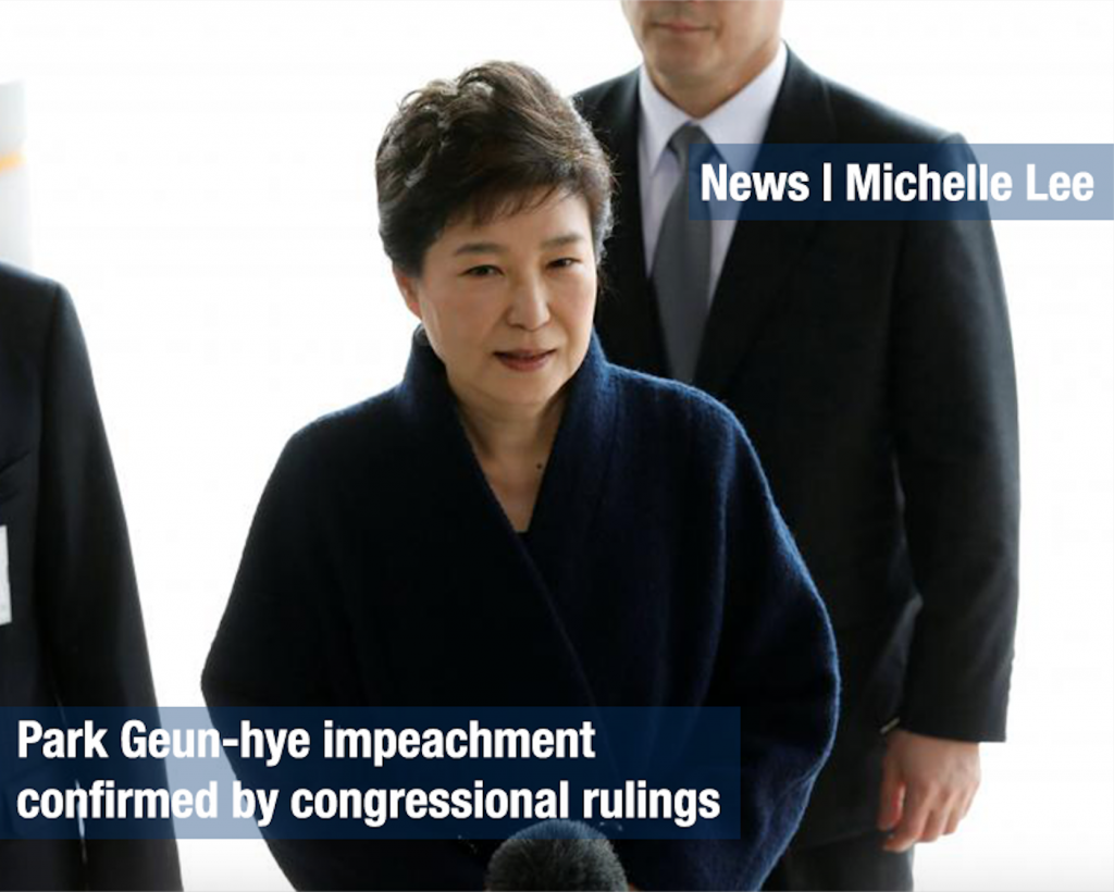 Park Geun-hye impeachment confirmed by congressional rulings
