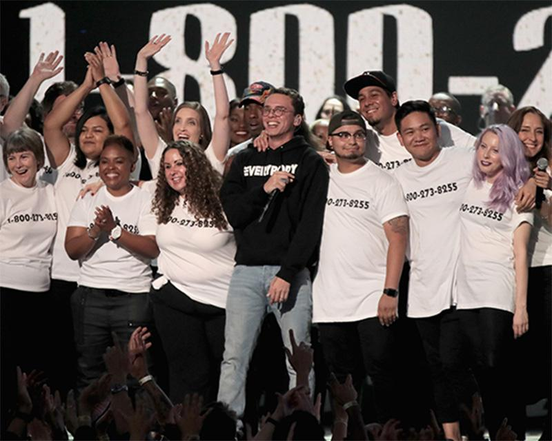 INGLEWOOD, CA - AUGUST 27:  Logic (C) performs onstage during the 2017 MTV Video Music Awards at The Forum on August 27, 2017 in Inglewood, California.  (Photo by Christopher Polk/MTV1617/Getty Images for MTV)